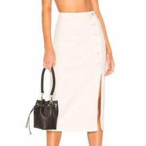 Free people cream denim skirt